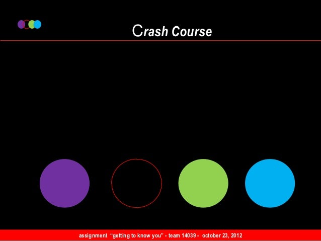 """Crash Courseassignment """"getting to know you"""" - team 14039 - october 23, 2012"""