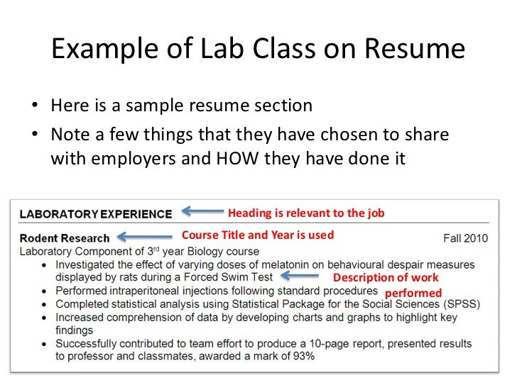 resume with relevant coursework listed