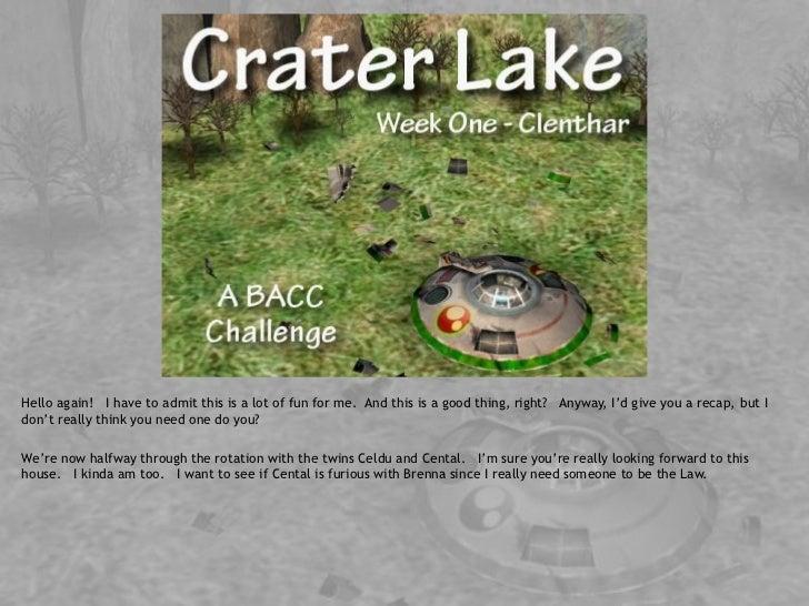 Crater lake - bacc  - week 1 - clenthar