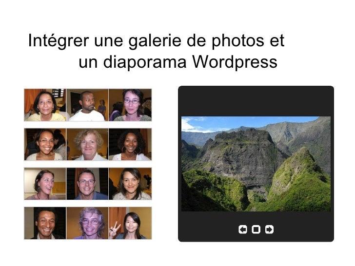 Intégrer une galerie de photos et  un diaporama Wordpress