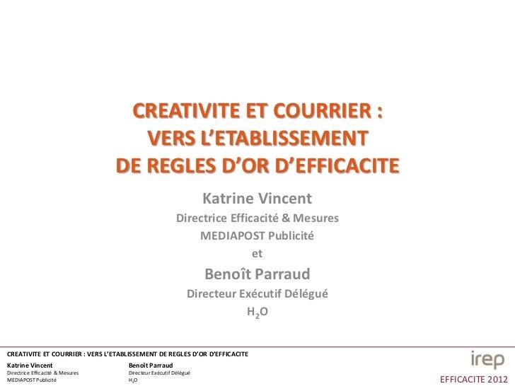 CREATIVITE ET COURRIER :                                     VERS L'ETABLISSEMENT                                  DE REGL...