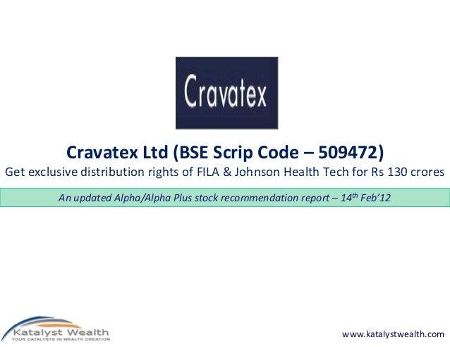 Cravatex ltd (BSE Code 509472) - Katalyst Wealth Alpha Recommendation 14th Feb'12