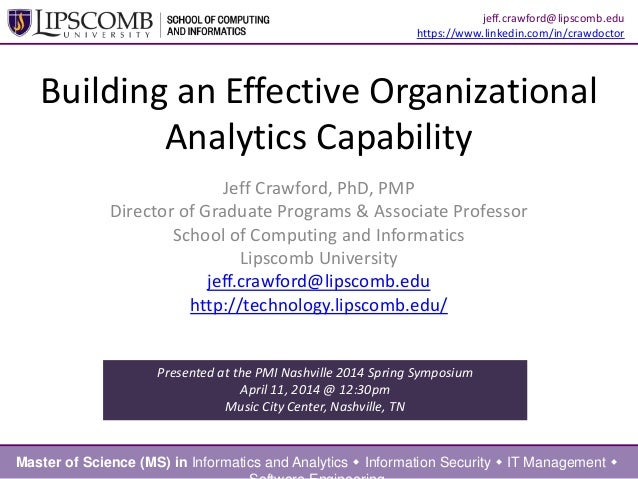 Building an Effective Organizational Analytics Capability