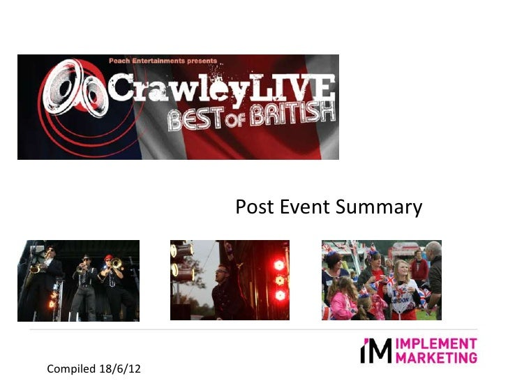 Implement Marketing: social media activity for Crawley Live event