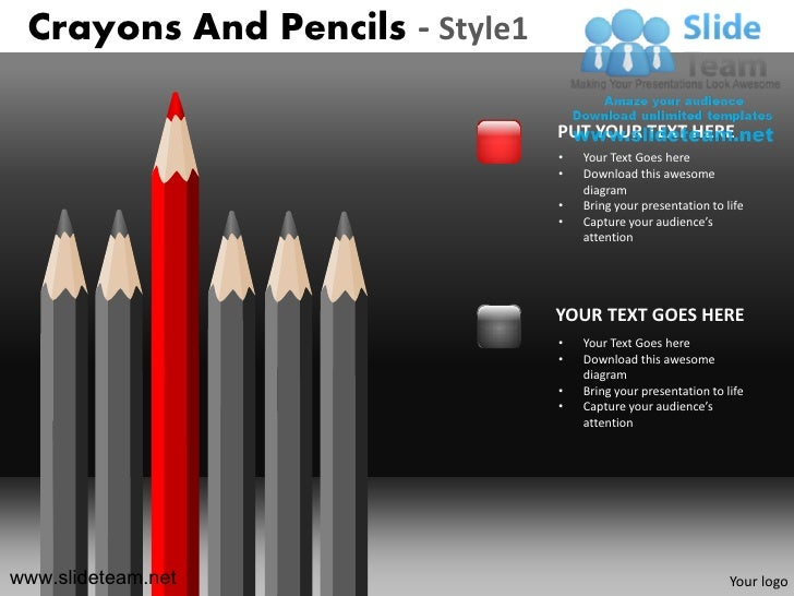 Crayons and pencils design 1 powerpoint ppt templates.