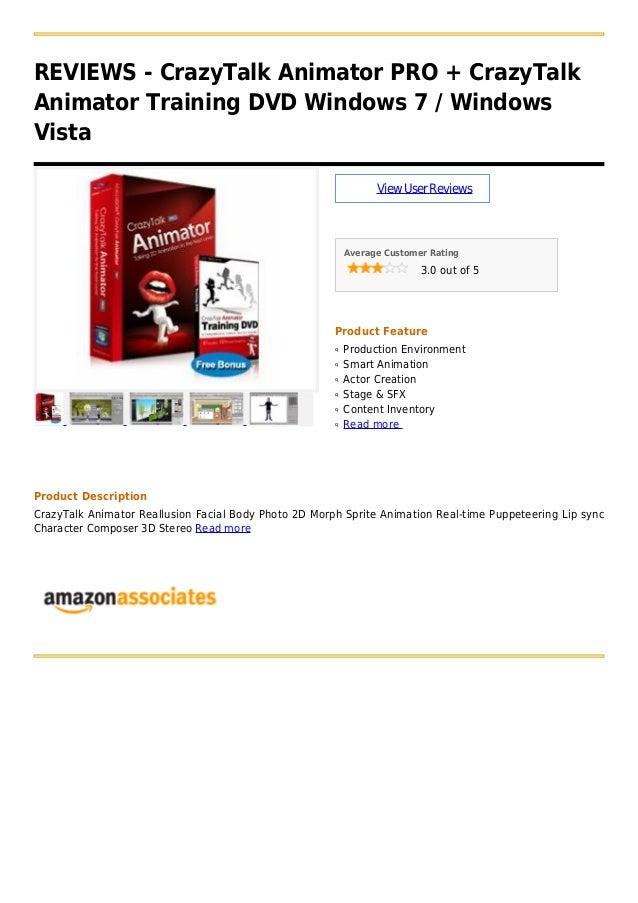 REVIEWS - CrazyTalk Animator PRO + CrazyTalkAnimator Training DVD Windows 7 / WindowsVistaViewUserReviewsAverage Customer ...