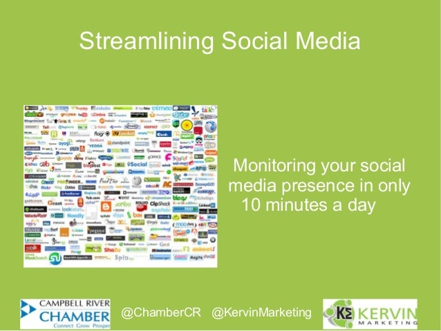 Streamlining Social MediaMonitoring your socialmedia presence in only10 minutes a day@ChamberCR @KervinMarketing