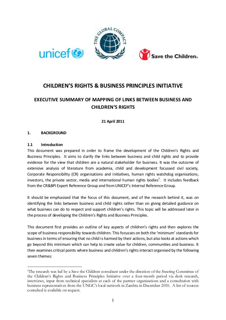 CHILDREN'S RIGHTS & BUSINESS PRINCIPLES INITIATIVE     EXECUTIVE SUMMARY OF MAPPING OF LINKS BETWEEN BUSINESS AND         ...