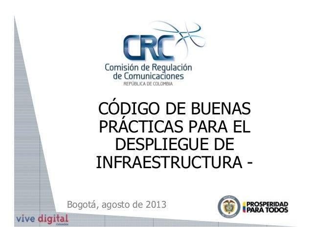CRC -  Código de buenas prácticas para el despliegue de infraestructura