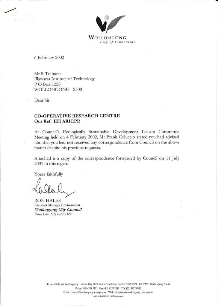 WoLToNGoNG                                                           i{     City of Innouation6February 2002Mr R TolhurstI...