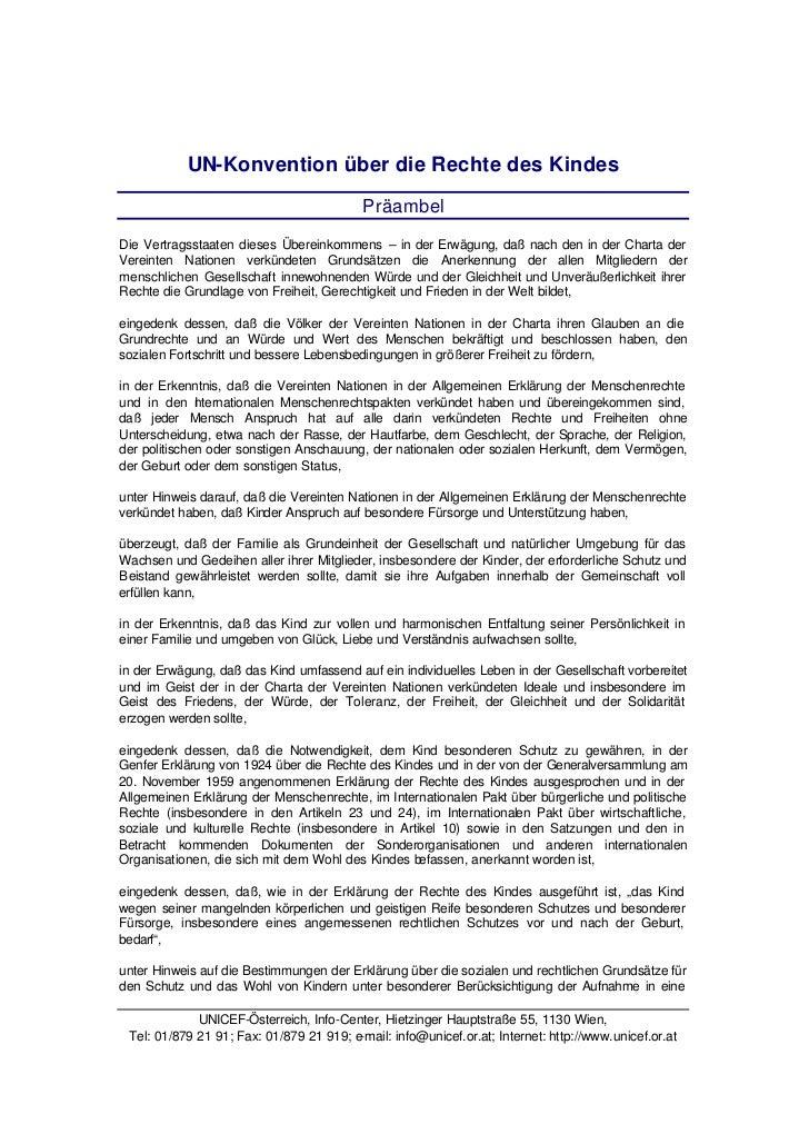 UN-Konvention über die Rechte des Kindes                                           PräambelDie Vertragsstaaten dieses Über...