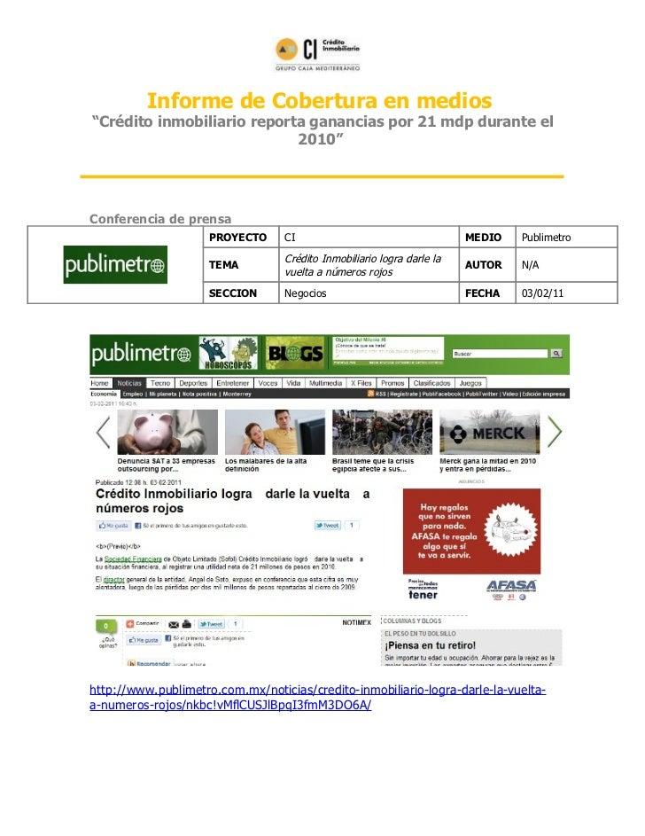 CI reporta ganancias por 21 mdp durante el 2010