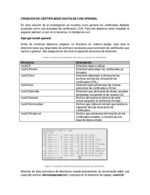 CREACIÓN DE CERTIFICADOS DIGITALES CON OPENSSL  En esta sección de la investigación se muestra como generar los certificad...