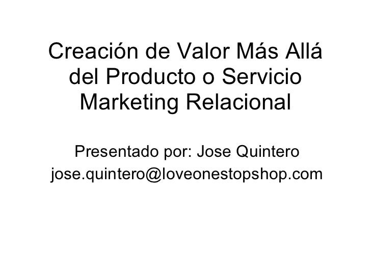 Creación de valor marketing relacional