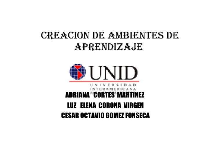 CREACION DE AMBIENTES DE APRENDIZAJE  ADRIANA  CORTES  MARTINEZ  LUZ  ELENA  CORONA  VIRGEN CESAR OCTAVIO GOMEZ FONSECA