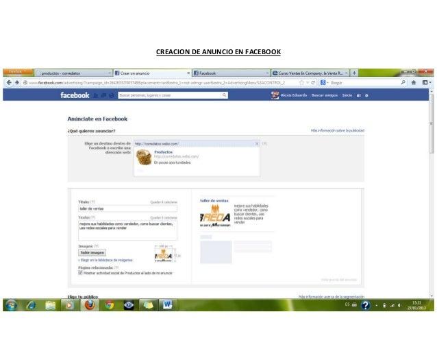 Creacion de anuncio en facebook