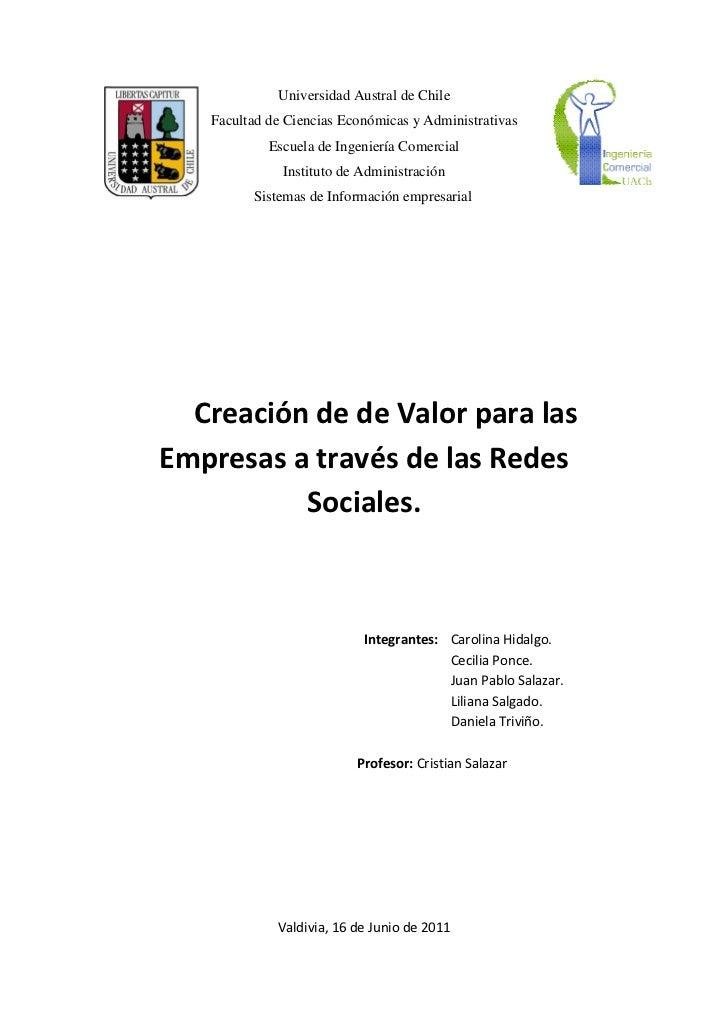 Creacion de de valor para las empresas a través de las redes sociales