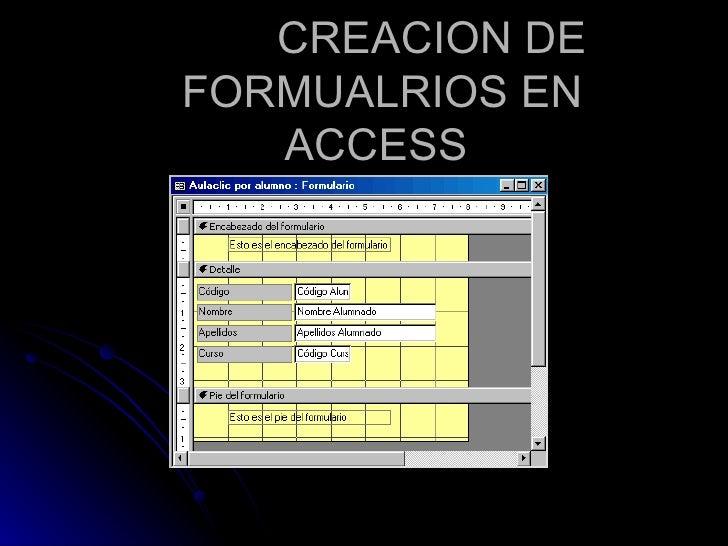 Creacion de formualrios en access