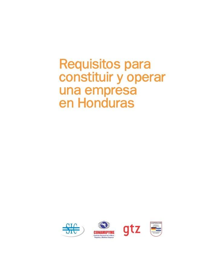 Requisitos paraconstituir y operaruna empresaen Honduras SI C