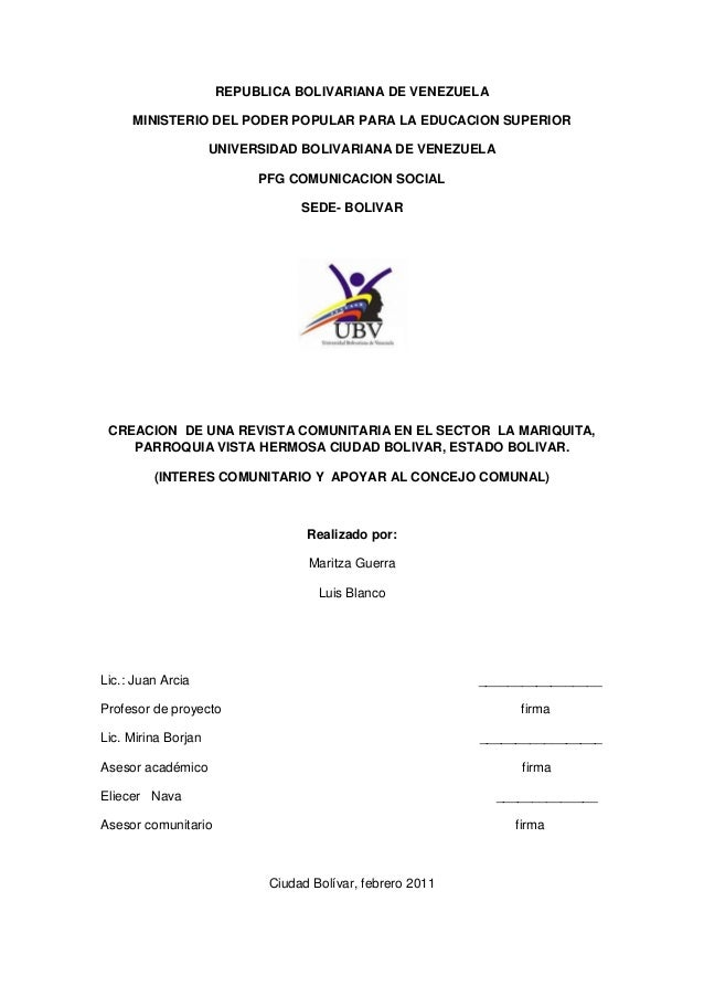 Creacion de una revista comunitaria en el sector la mariquita de ciudad bolivar