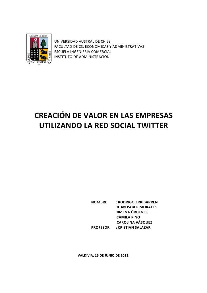 UNIVERSIDAD AUSTRAL DE CHILE    FACULTAD DE CS. ECONOMICAS Y ADMINISTRATIVAS    ESCUELA INGENIERIA COMERCIAL    INSTITUTO ...