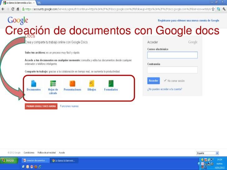 Creación de documentos con Google docs