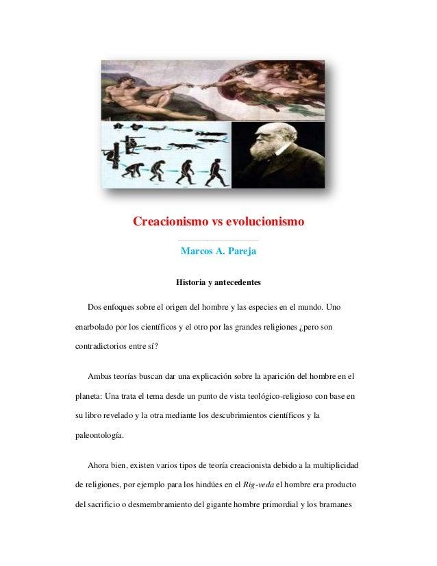 Creacionismo vs evolucionismo                              ______________________________                               Ma...