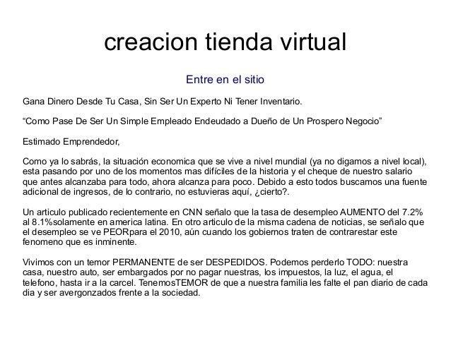 """creacion tienda virtualEntre en el sitioGana Dinero Desde Tu Casa, Sin Ser Un Experto Ni Tener Inventario.""""Como Pase De Se..."""