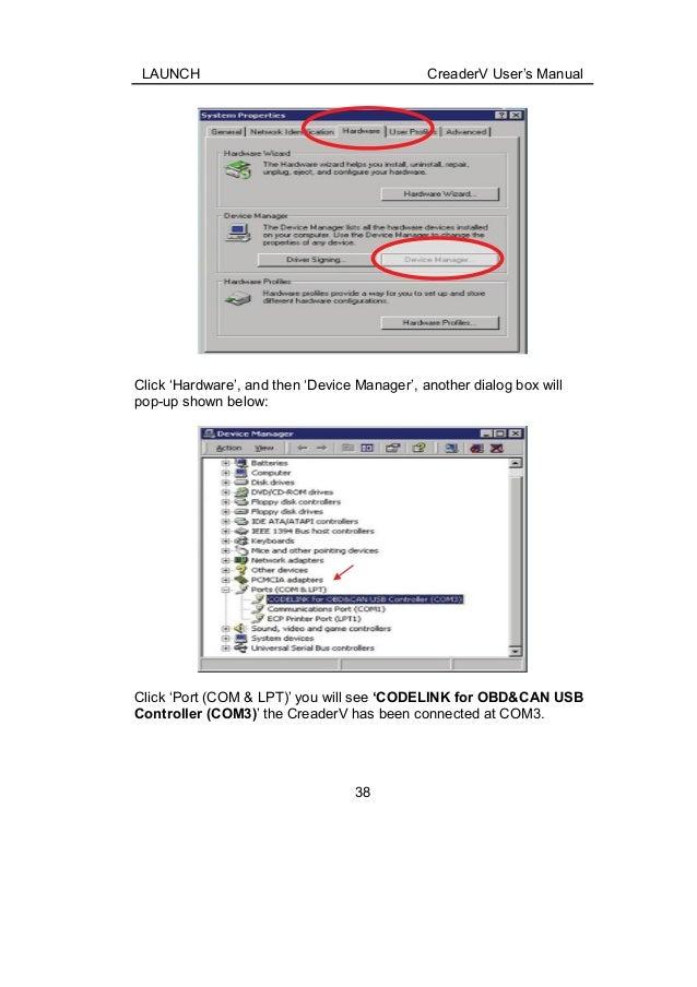 Launch X431 Creader V user manual