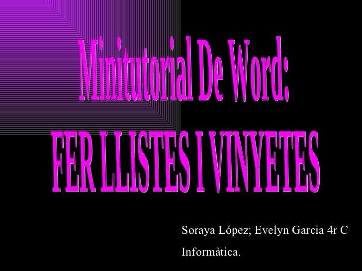 Minitutorial de Word :Fer Llistes i Vinyetes
