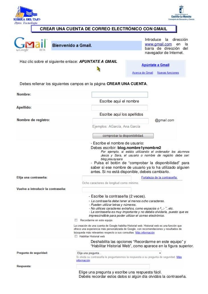 Dpto. Tecnología                    CREAR UNA CUENTA DE CORREO ELECTRÓNICO CON GMAIL                                      ...