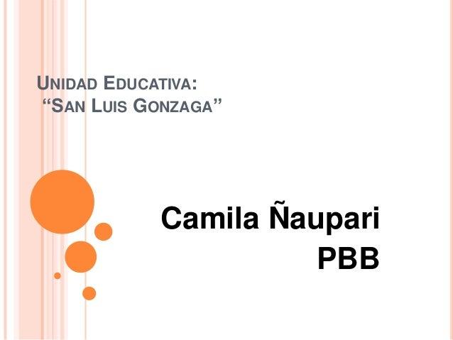 """UNIDAD EDUCATIVA: """"SAN LUIS GONZAGA""""  Camila Ñaupari PBB"""