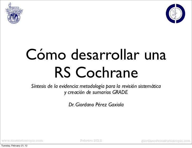 Cómo crear un RS Cochrane
