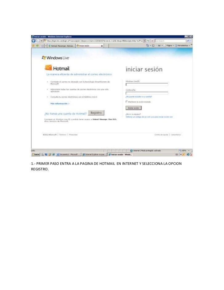 Crear una cuenta en hotmail