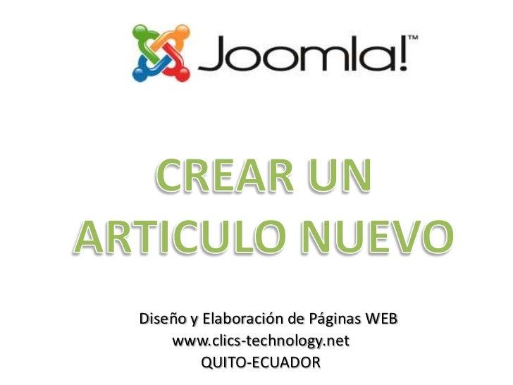 Crear un articulo en Joomla 1.5