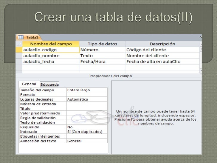 Crear una tabla de datos(ii)