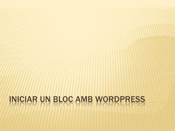 Crear un Bloc amb WordPress