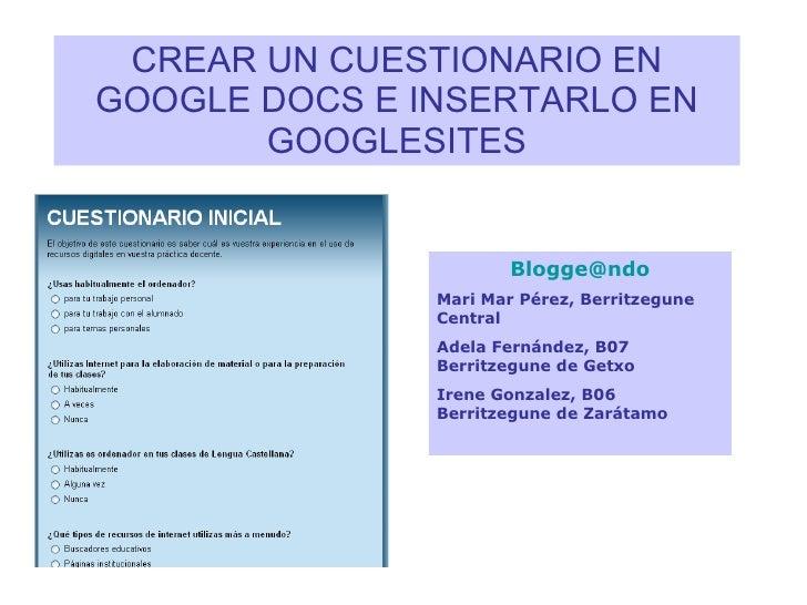 Crear un cuestionario en googledocs