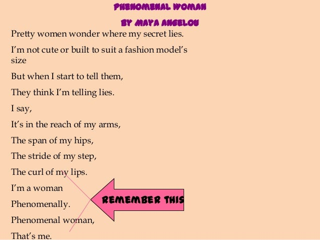 analysis of phenomonal women The mood of phenomenal woman by the upbeat mood of the poem is underscored by the frequent use of the word phenomenal in reference to women of analysis of.