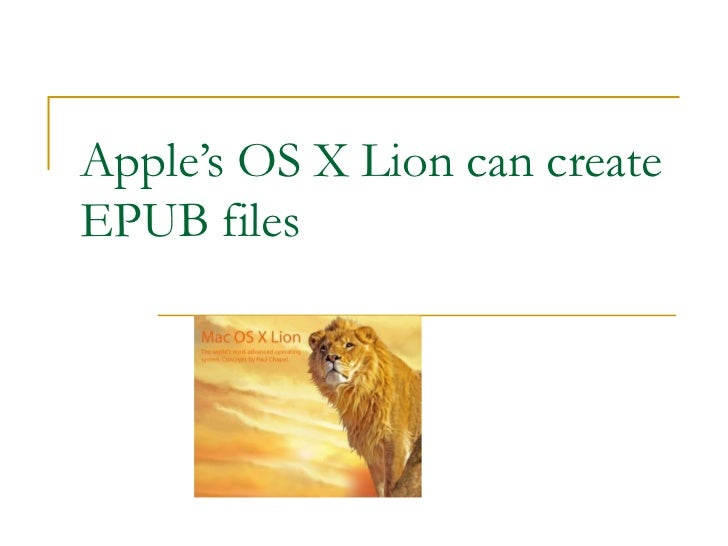 Create Epub Files From Apple's OS X Lion