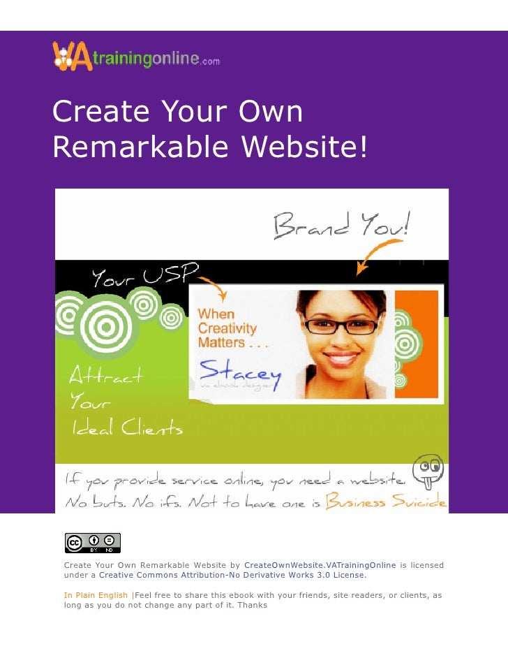 Create Your Own Remarkable Website!     Create Your Own Remarkable Website by CreateOwnWebsite.VATrainingOnline is license...