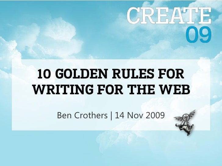 Ben Crothers | 14 Nov 2009