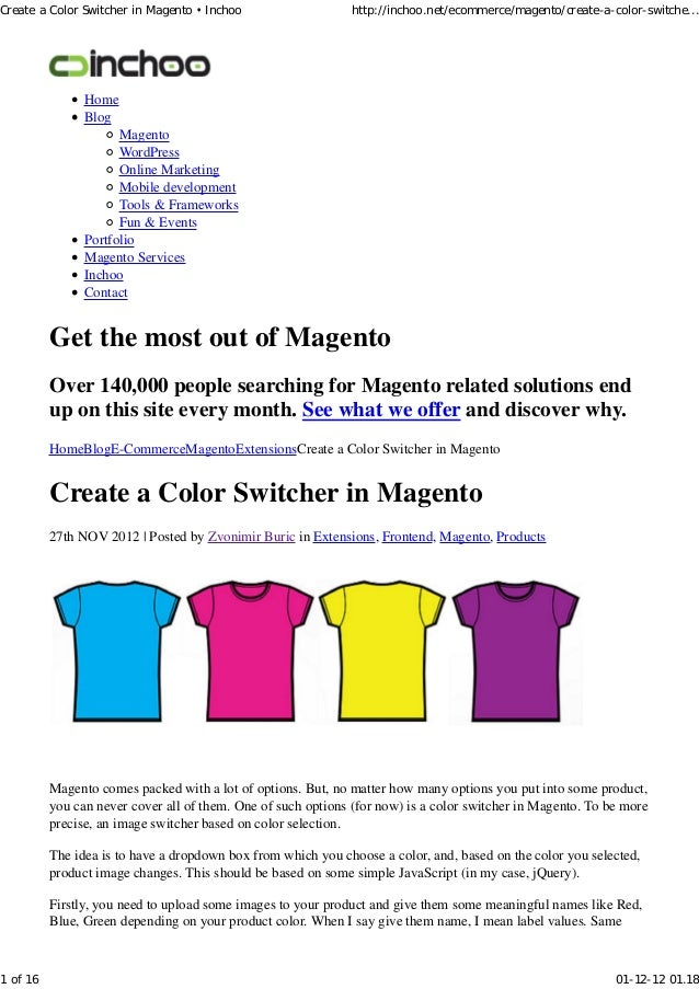 Create a color switcher in magento • inchoo