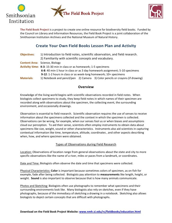 Create Your Own Field Books Lesson Plan and Activity, 2011