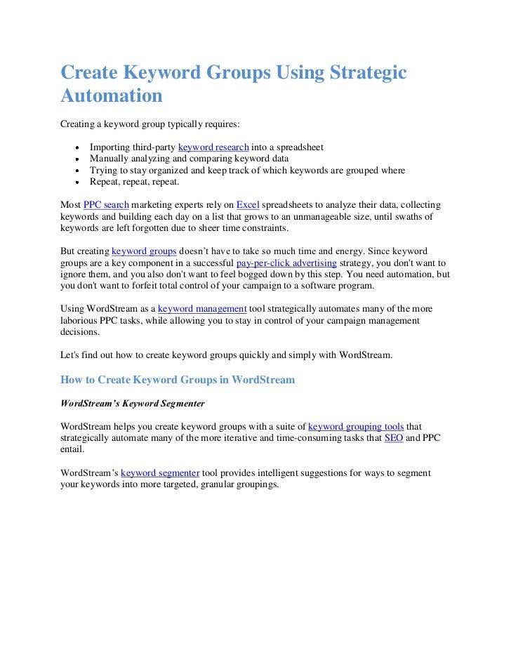 Create keyword groups using strategic automation
