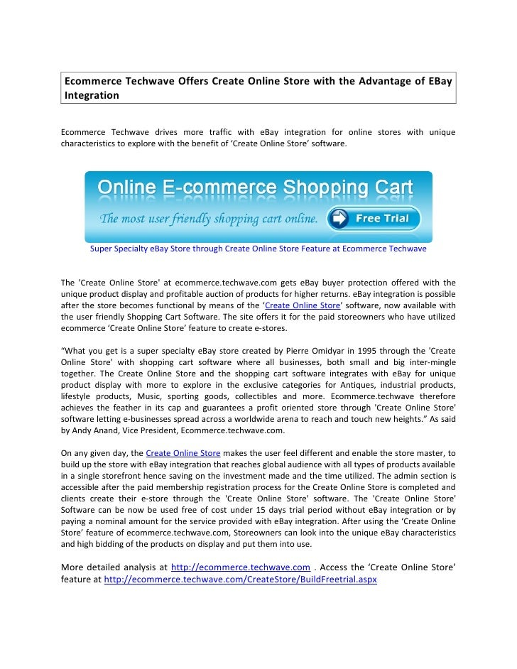 Ecommerce Techwave Offers Create Online Store with the Advantage of EBay  Integration   Ecommerce Techwave drives more tra...