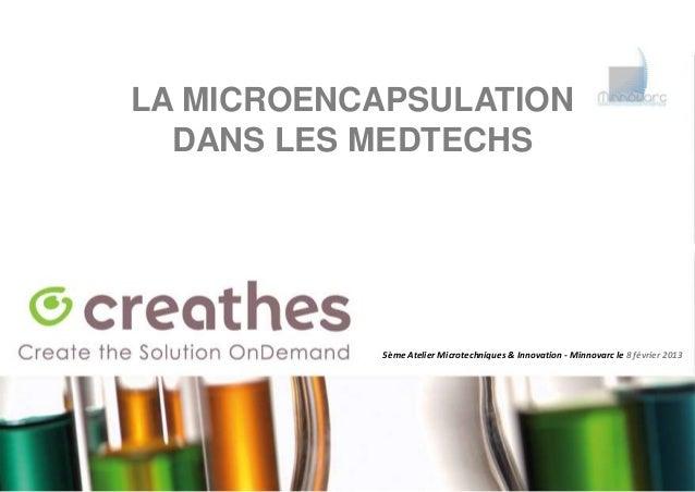 LA MICROENCAPSULATION  DANS LES MEDTECHS           5ème Atelier Microtechniques & Innovation - Minnovarc le 8 février 2013