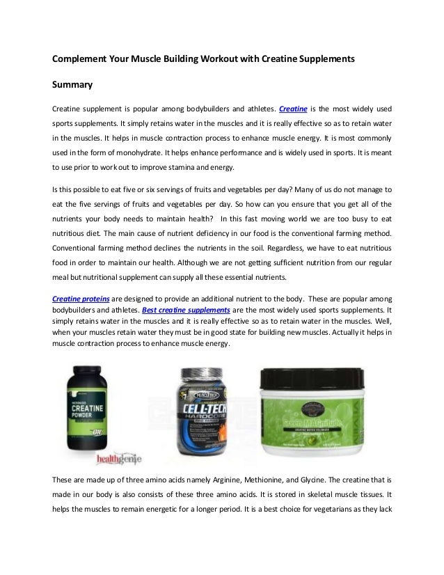 Complement Your Muscle Building Workout with Creatine SupplementsSummaryCreatine supplement is popular among bodybuilders ...