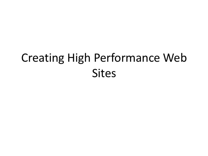 Creating High Performance Web Sites<br />
