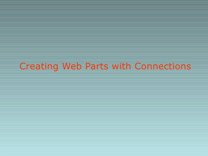 Creating Web Parts with Connections